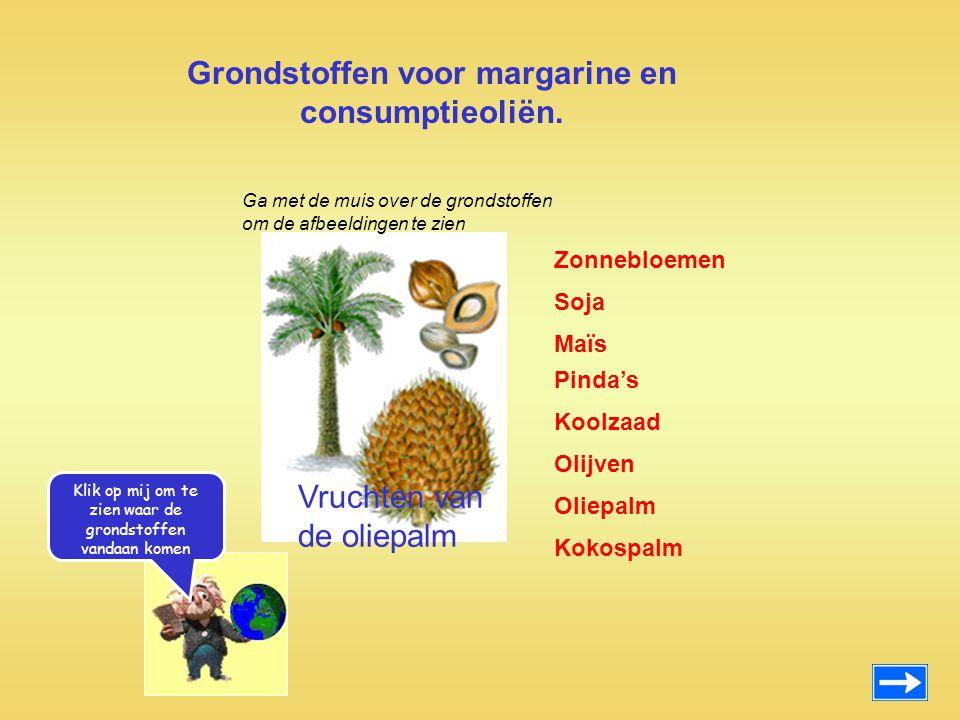 Grondstoffen voor margarine en consumptieoliën. Zonnebloemen Maïs Pinda's Koolzaad Olijven Oliepalm Kokospalm Soja Vruchten van de oliepalm Ga met de