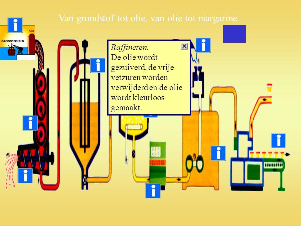 Raffineren. De olie wordt gezuiverd, de vrije vetzuren worden verwijderd en de olie wordt kleurloos gemaakt. Van grondstof tot olie, van olie tot marg