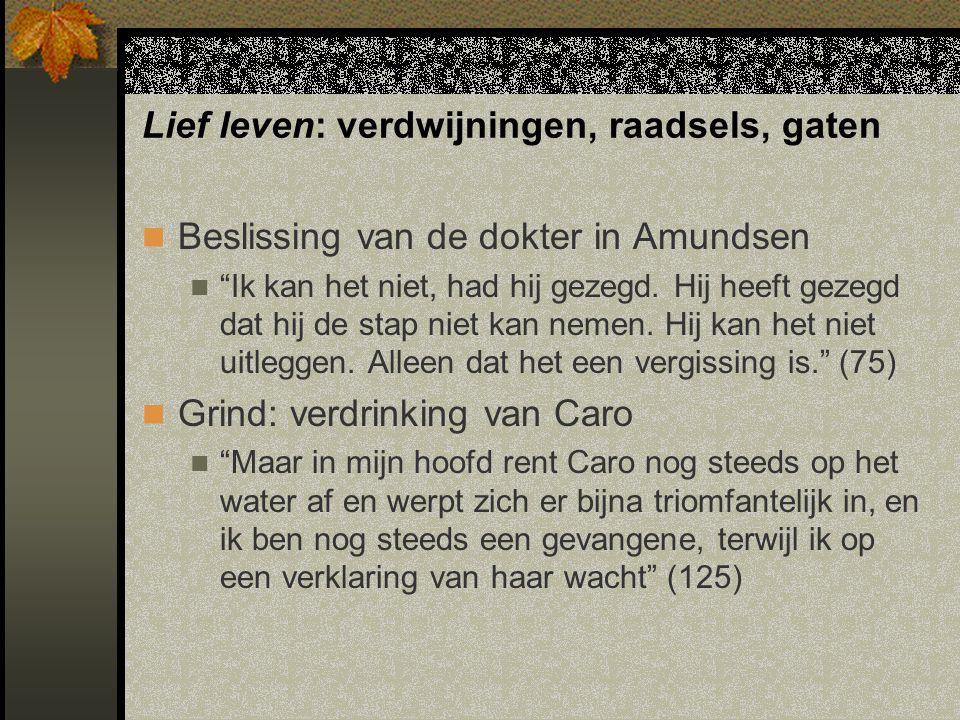 Lief leven: verdwijningen, raadsels, gaten Beslissing van de dokter in Amundsen Ik kan het niet, had hij gezegd.