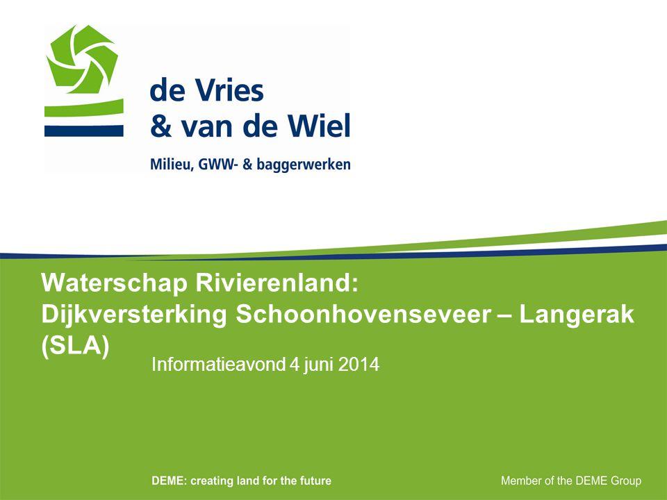Waterschap Rivierenland: Dijkversterking Schoonhovenseveer – Langerak (SLA) Informatieavond 4 juni 2014