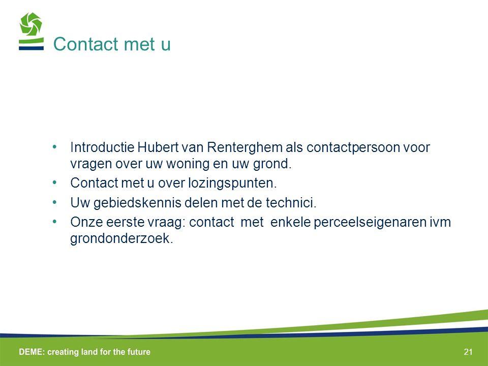 Contact met u Introductie Hubert van Renterghem als contactpersoon voor vragen over uw woning en uw grond.