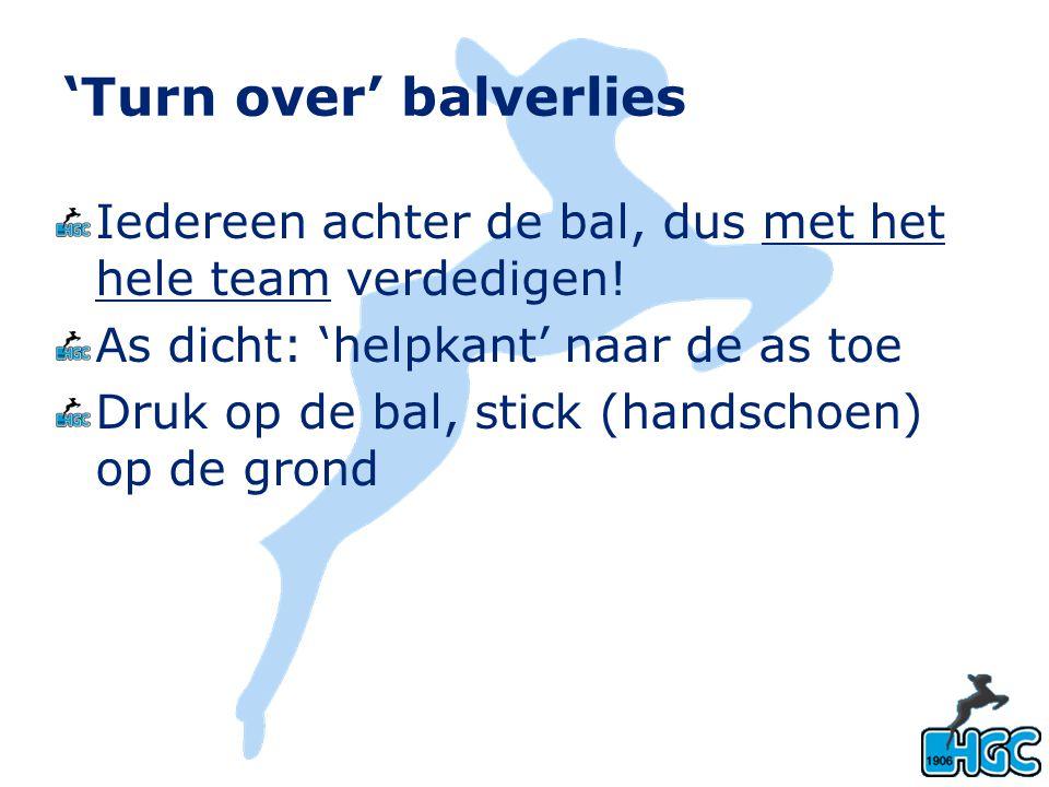 'Turn over' balverlies Iedereen achter de bal, dus met het hele team verdedigen! As dicht: 'helpkant' naar de as toe Druk op de bal, stick (handschoen