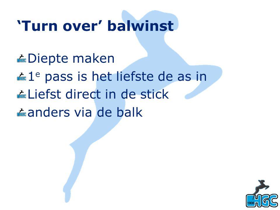 'Turn over' balwinst Diepte maken 1 e pass is het liefste de as in Liefst direct in de stick anders via de balk