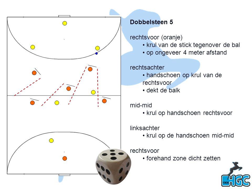 Dobbelsteen 5 rechtsvoor (oranje) krul van de stick tegenover de bal op ongeveer 4 meter afstand rechtsachter handschoen op krul van de rechtsvoor dek