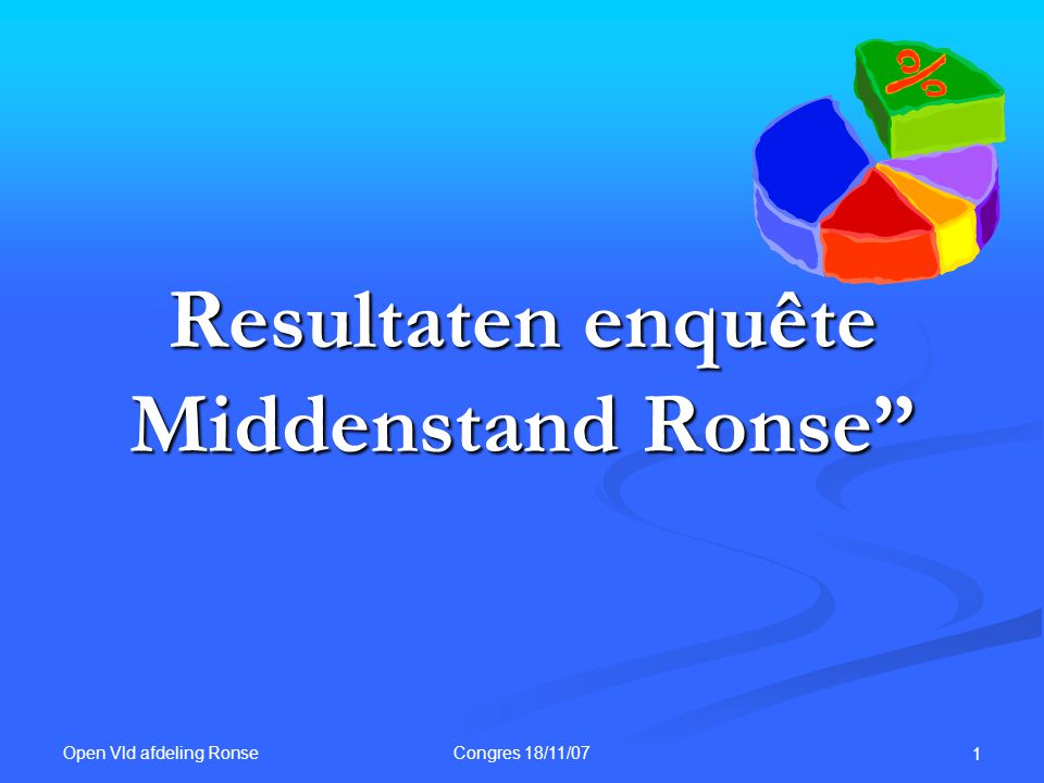 """Open Vld afdeling Ronse Congres 18/11/07 1 Resultaten enquête Middenstand Ronse"""""""