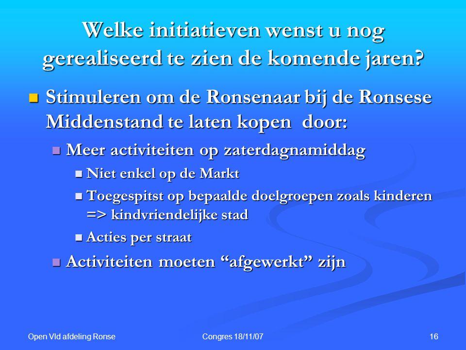 Open Vld afdeling Ronse 16Congres 18/11/07 Welke initiatieven wenst u nog gerealiseerd te zien de komende jaren.