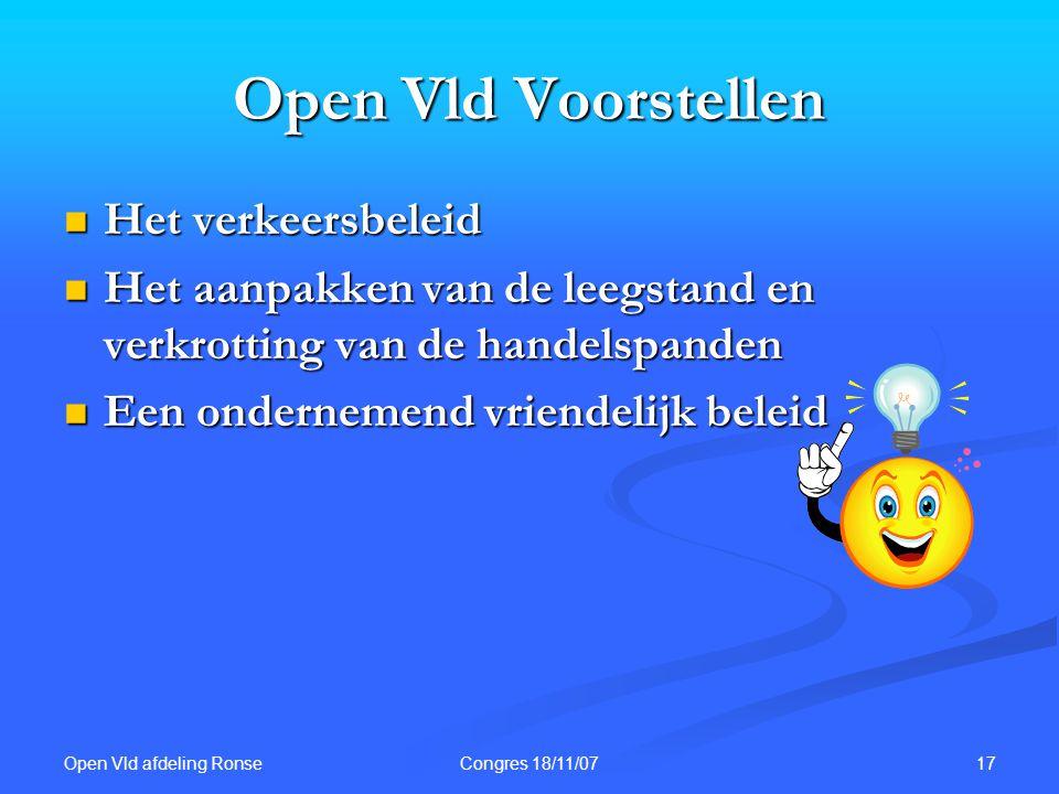 Open Vld afdeling Ronse 17Congres 18/11/07 Open Vld Voorstellen Het verkeersbeleid Het verkeersbeleid Het aanpakken van de leegstand en verkrotting va