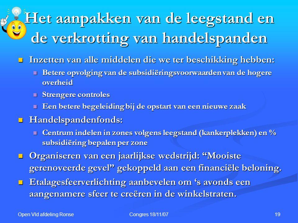 Open Vld afdeling Ronse 19Congres 18/11/07 Het aanpakken van de leegstand en de verkrotting van handelspanden Inzetten van alle middelen die we ter be
