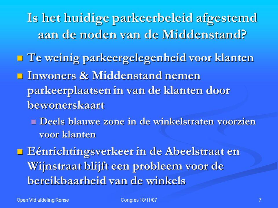 Open Vld afdeling Ronse 7Congres 18/11/07 Is het huidige parkeerbeleid afgestemd aan de noden van de Middenstand? Te weinig parkeergelegenheid voor kl