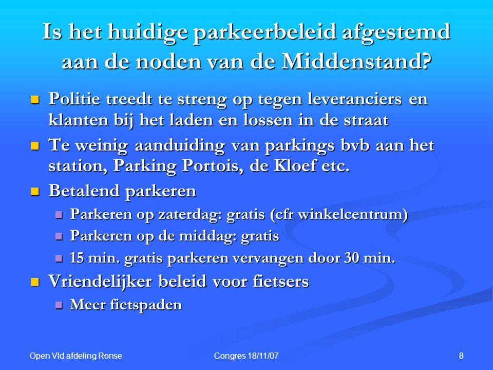 Open Vld afdeling Ronse 8Congres 18/11/07 Is het huidige parkeerbeleid afgestemd aan de noden van de Middenstand.