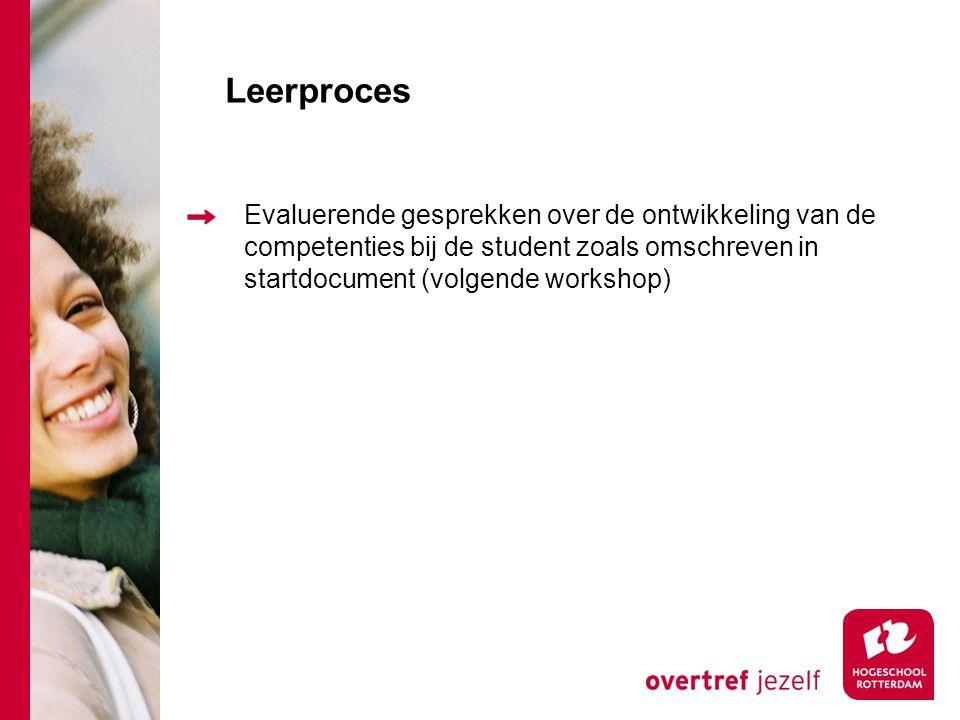 Leerproces Evaluerende gesprekken over de ontwikkeling van de competenties bij de student zoals omschreven in startdocument (volgende workshop)