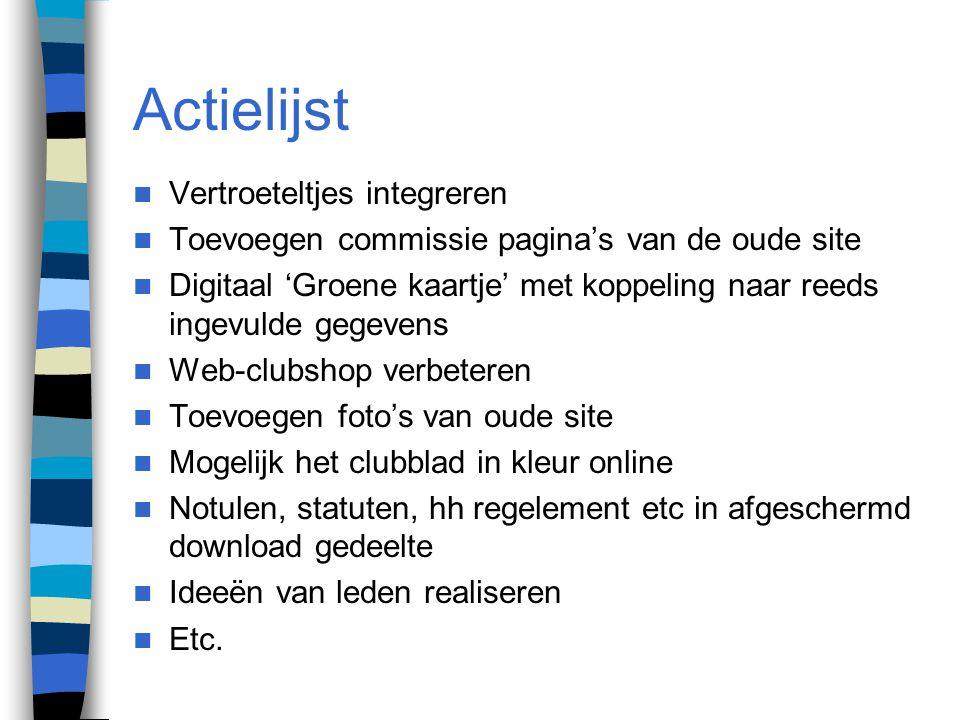 Actielijst Vertroeteltjes integreren Toevoegen commissie pagina's van de oude site Digitaal 'Groene kaartje' met koppeling naar reeds ingevulde gegeve
