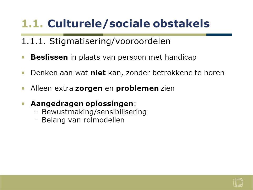 1.1. Culturele/sociale obstakels 1.1.1.
