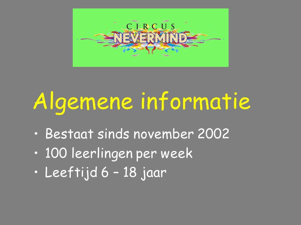 Bestaat sinds november 2002 100 leerlingen per week Leeftijd 6 – 18 jaar Algemene informatie