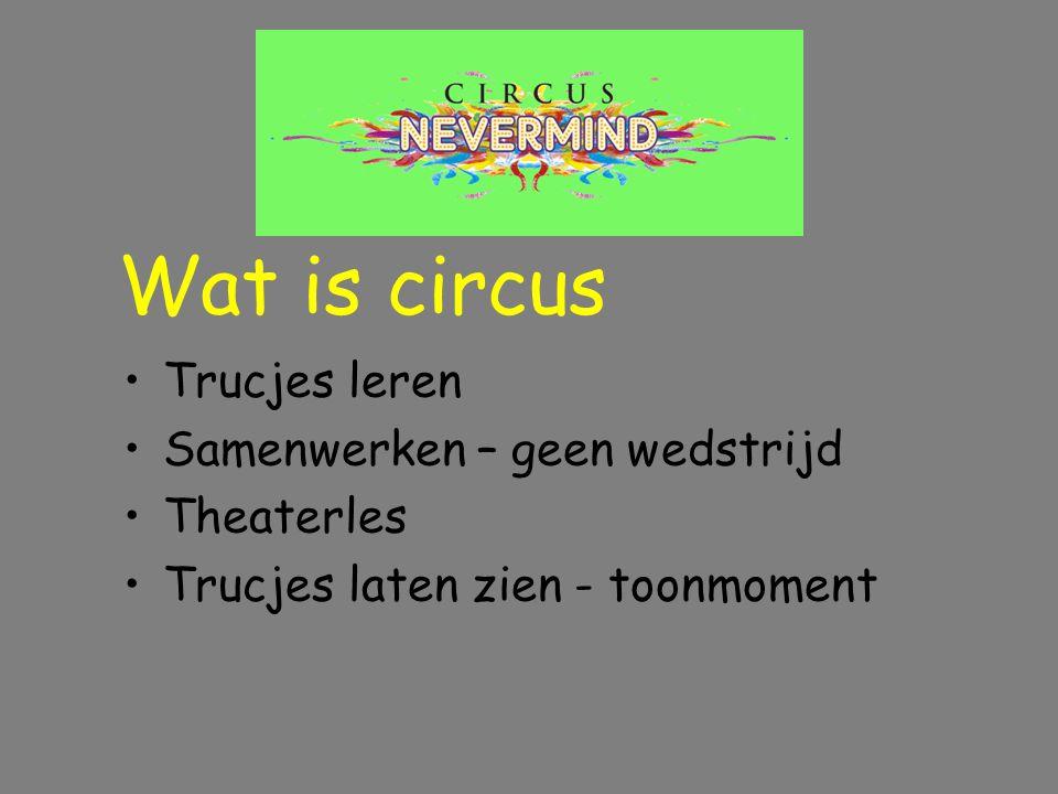 Trucjes leren Samenwerken – geen wedstrijd Theaterles Trucjes laten zien - toonmoment Wat is circus