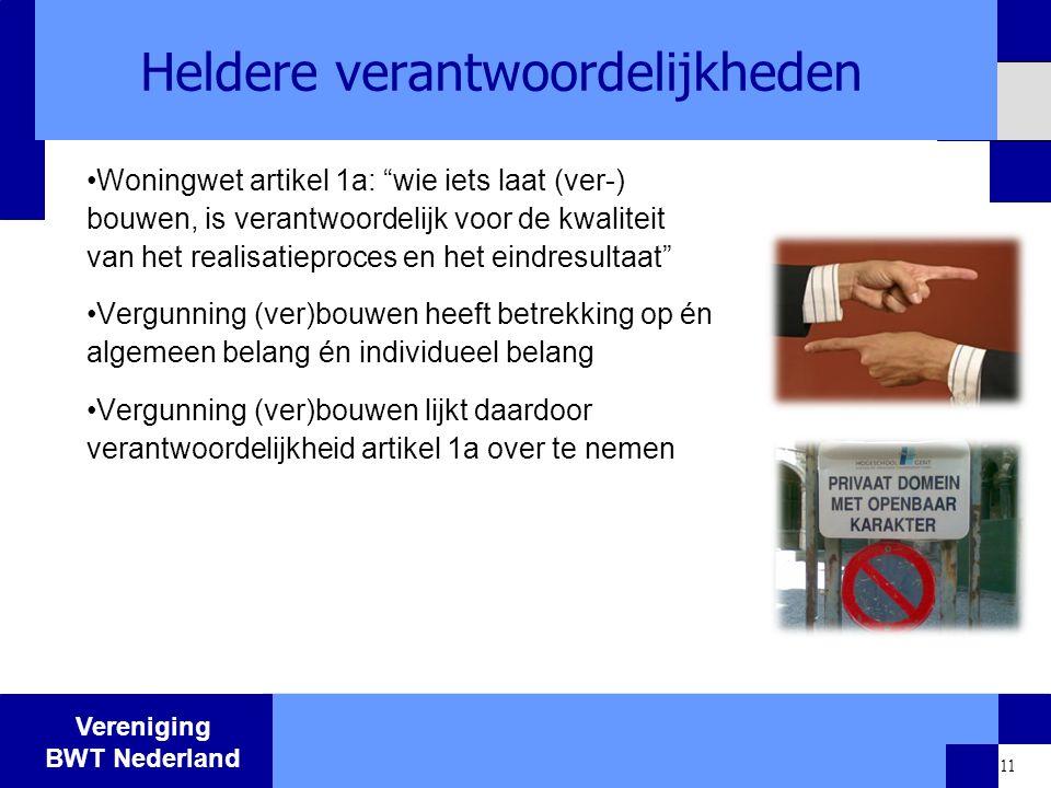 """Vereniging BWT Nederland 11 Heldere verantwoordelijkheden Woningwet artikel 1a: """"wie iets laat (ver-) bouwen, is verantwoordelijk voor de kwaliteit va"""