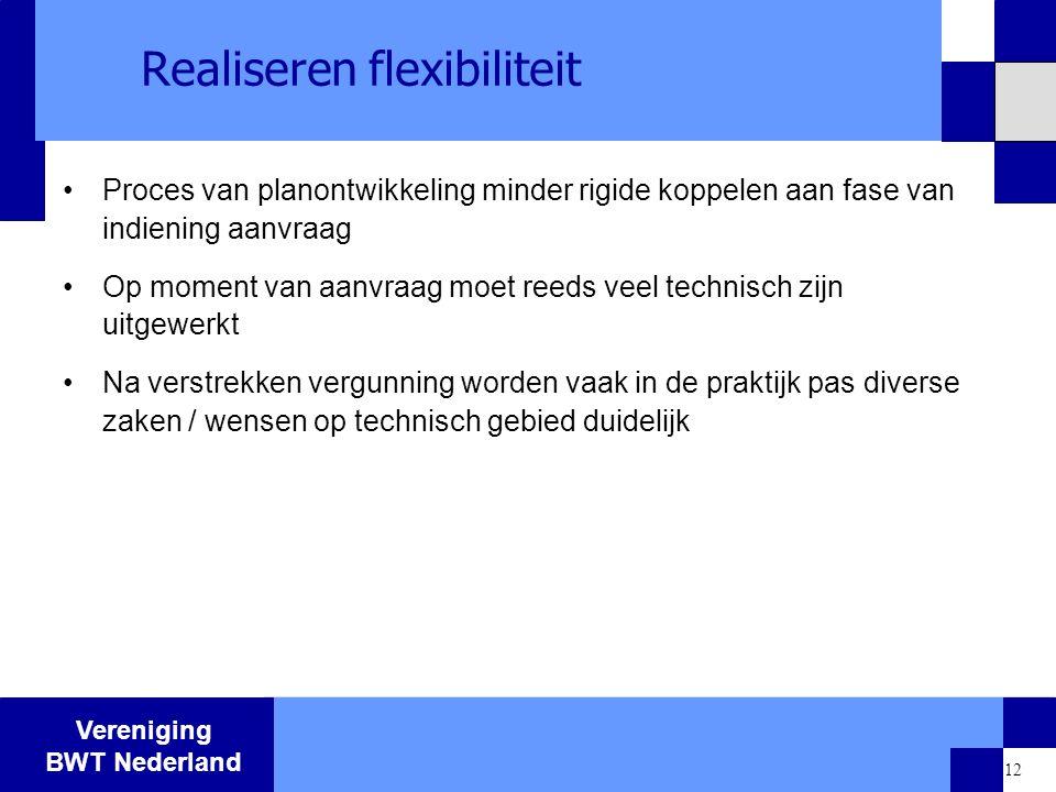Vereniging BWT Nederland 12 Realiseren flexibiliteit Proces van planontwikkeling minder rigide koppelen aan fase van indiening aanvraag Op moment van