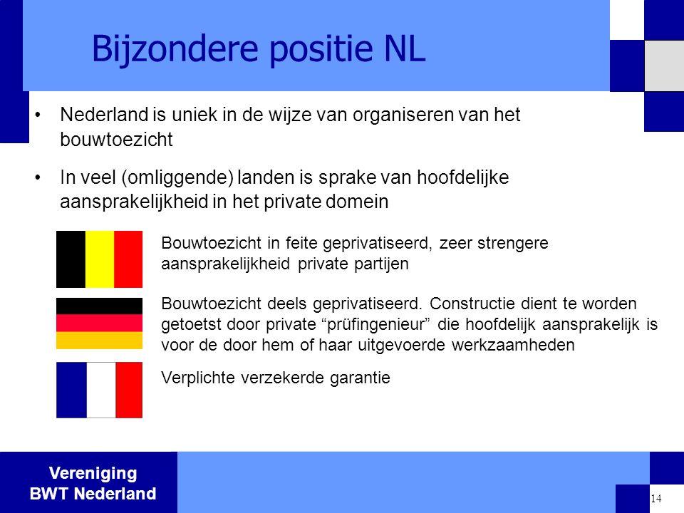 Vereniging BWT Nederland 14 Bijzondere positie NL Nederland is uniek in de wijze van organiseren van het bouwtoezicht In veel (omliggende) landen is s