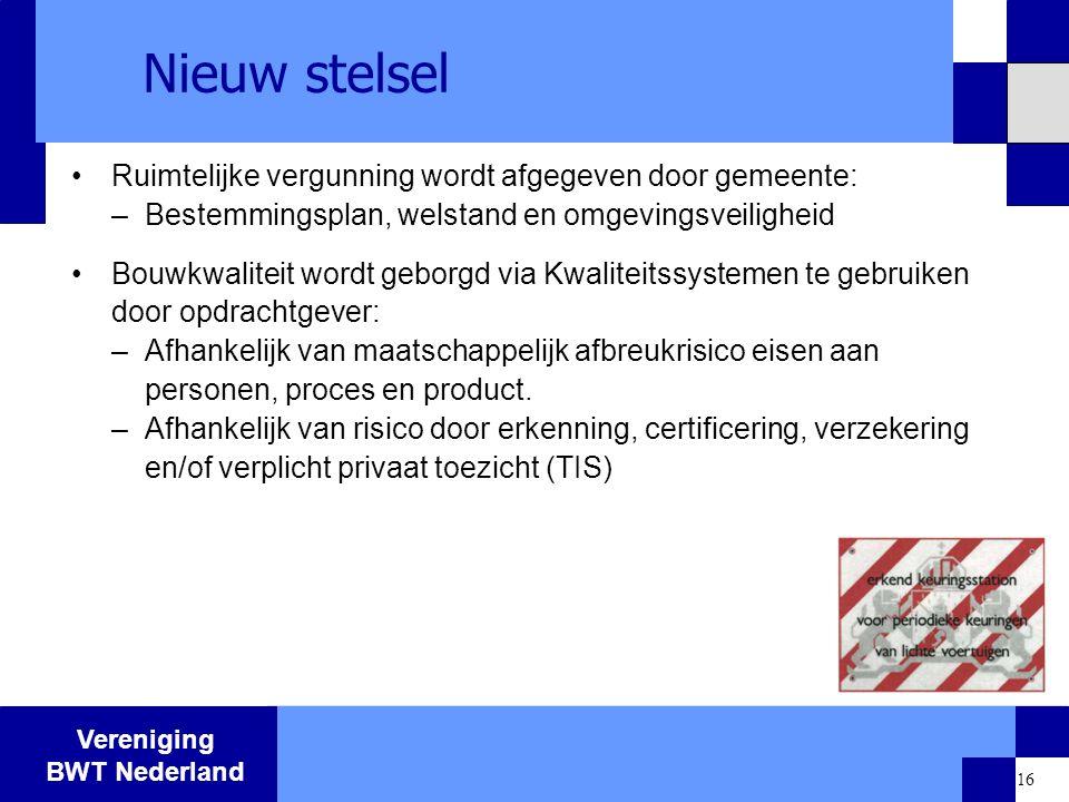 Vereniging BWT Nederland 16 Nieuw stelsel Ruimtelijke vergunning wordt afgegeven door gemeente: –Bestemmingsplan, welstand en omgevingsveiligheid Bouw