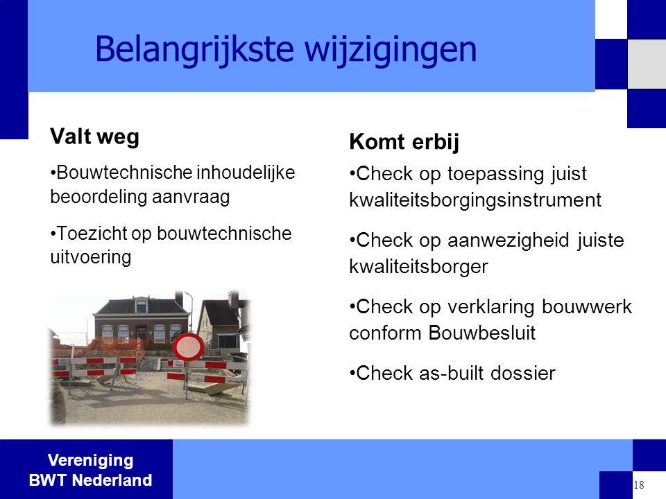 Vereniging BWT Nederland 18 Belangrijkste wijzigingen Valt weg Bouwtechnische inhoudelijke beoordeling aanvraag Toezicht op bouwtechnische uitvoering
