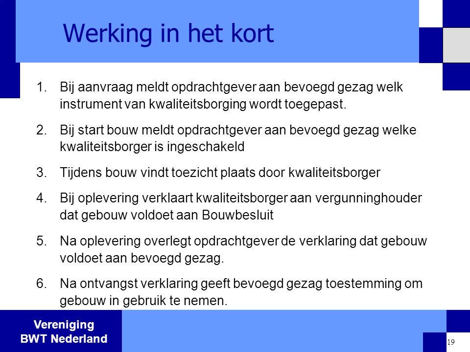 Vereniging BWT Nederland 19 Werking in het kort 1.Bij aanvraag meldt opdrachtgever aan bevoegd gezag welk instrument van kwaliteitsborging wordt toege