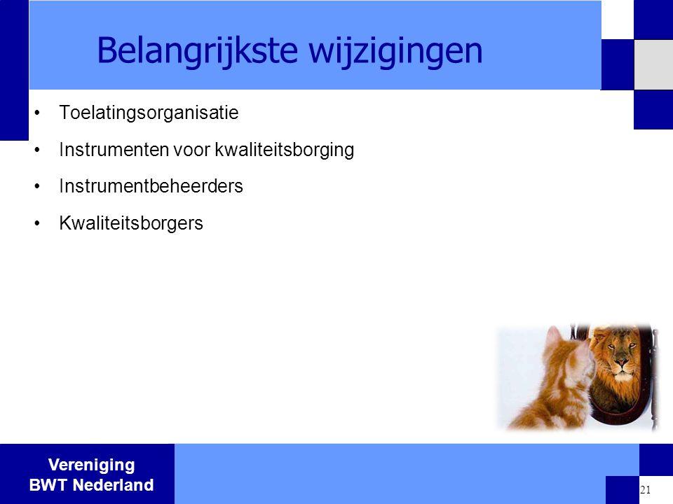 Vereniging BWT Nederland 21 Belangrijkste wijzigingen Toelatingsorganisatie Instrumenten voor kwaliteitsborging Instrumentbeheerders Kwaliteitsborgers