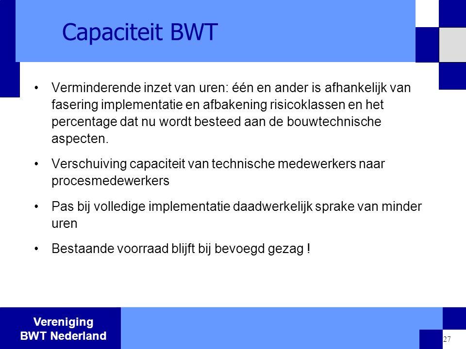 Vereniging BWT Nederland 27 Capaciteit BWT Verminderende inzet van uren: één en ander is afhankelijk van fasering implementatie en afbakening risicokl