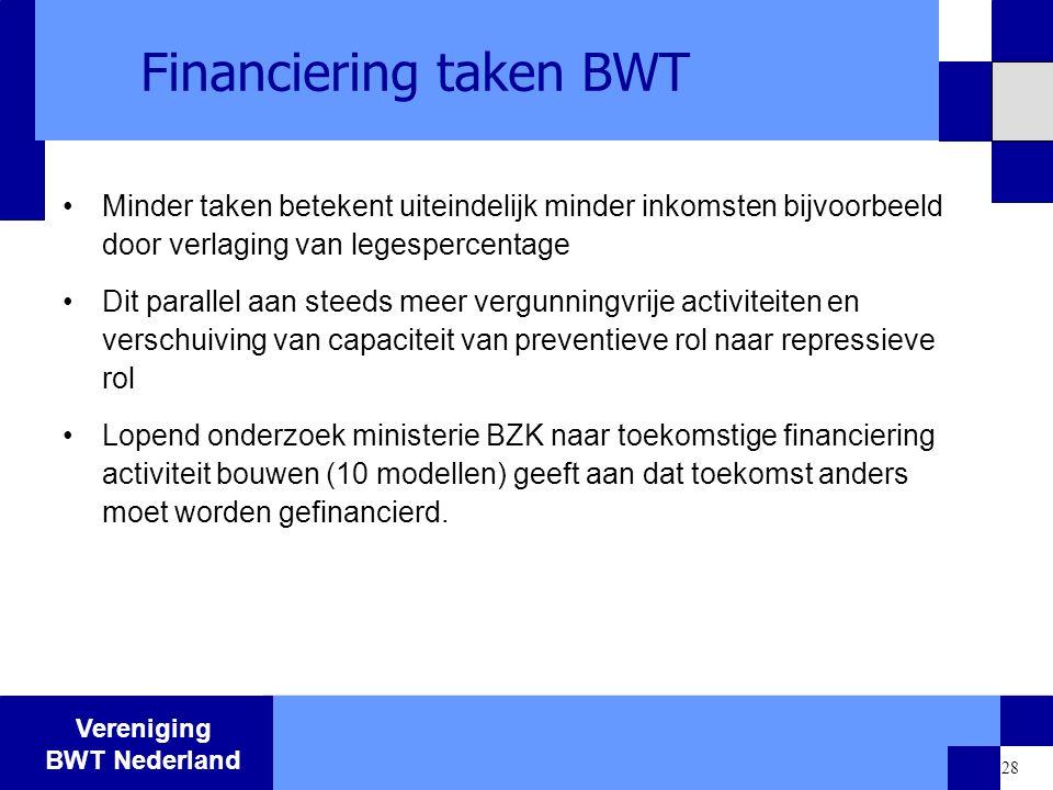 Vereniging BWT Nederland 28 Financiering taken BWT Minder taken betekent uiteindelijk minder inkomsten bijvoorbeeld door verlaging van legespercentage