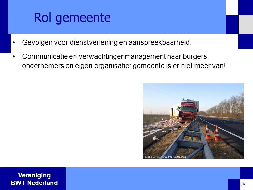 Vereniging BWT Nederland 29 Rol gemeente Gevolgen voor dienstverlening en aanspreekbaarheid. Communicatie en verwachtingenmanagement naar burgers, ond