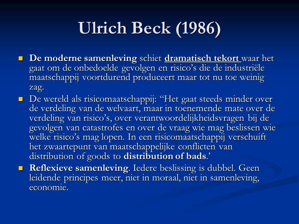 Ulrich Beck (1986) De moderne samenleving schiet dramatisch tekort waar het gaat om de onbedoelde gevolgen en risico's die de industriële maatschappij