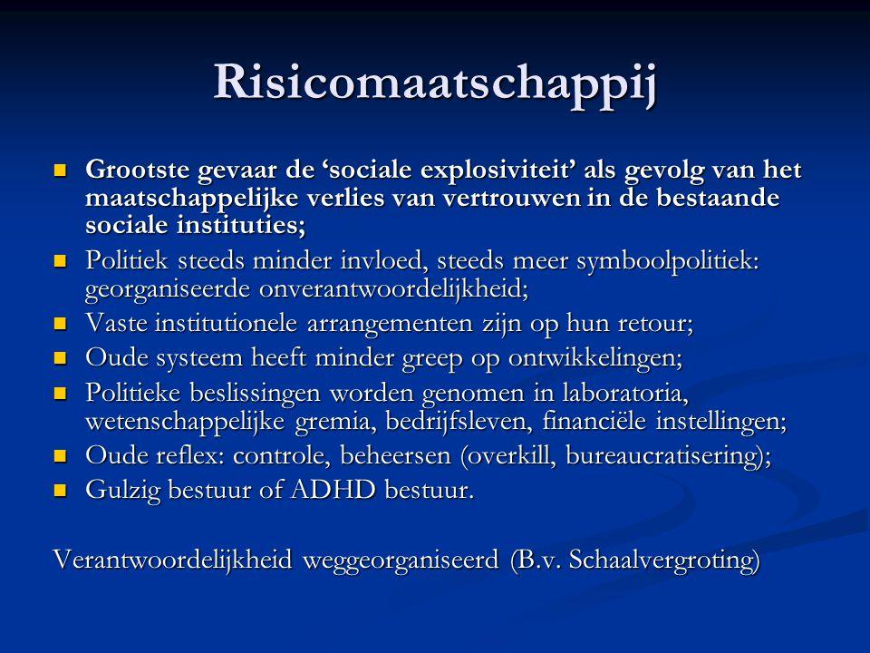 Risicomaatschappij Grootste gevaar de 'sociale explosiviteit' als gevolg van het maatschappelijke verlies van vertrouwen in de bestaande sociale insti