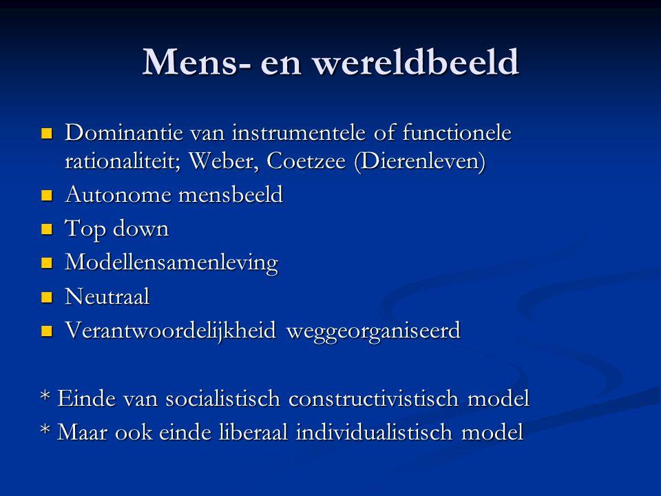 Mens- en wereldbeeld Dominantie van instrumentele of functionele rationaliteit; Weber, Coetzee (Dierenleven) Dominantie van instrumentele of functione