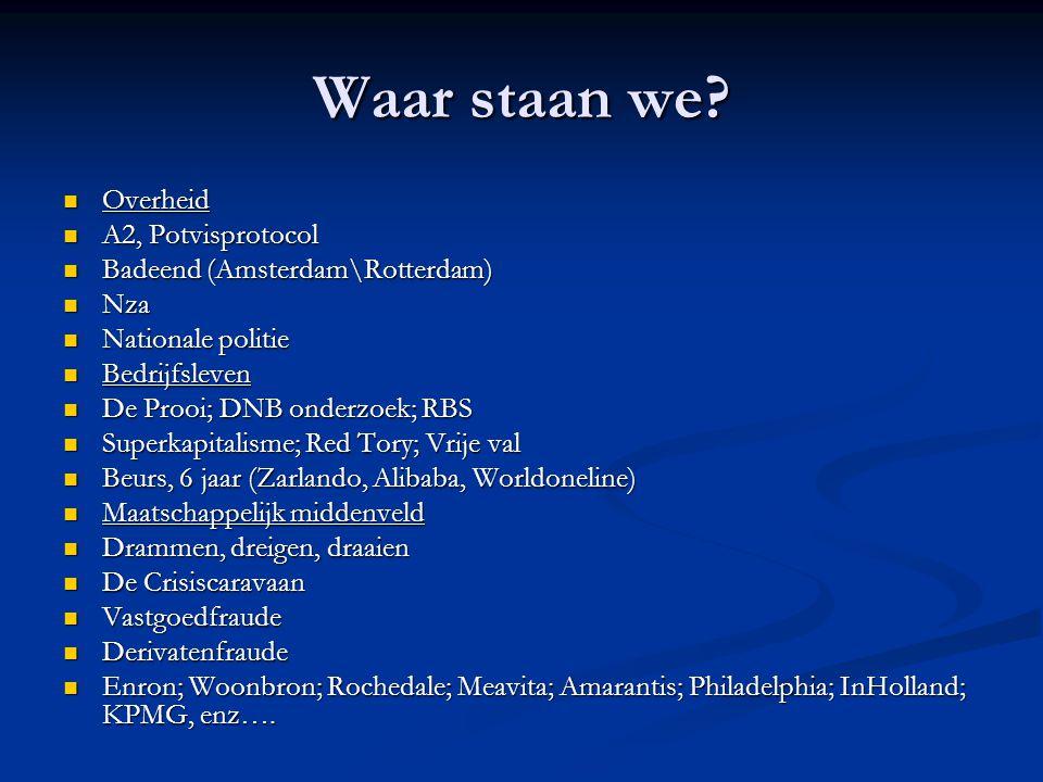 Waar staan we? Overheid Overheid A2, Potvisprotocol A2, Potvisprotocol Badeend (Amsterdam\Rotterdam) Badeend (Amsterdam\Rotterdam) Nza Nza Nationale p