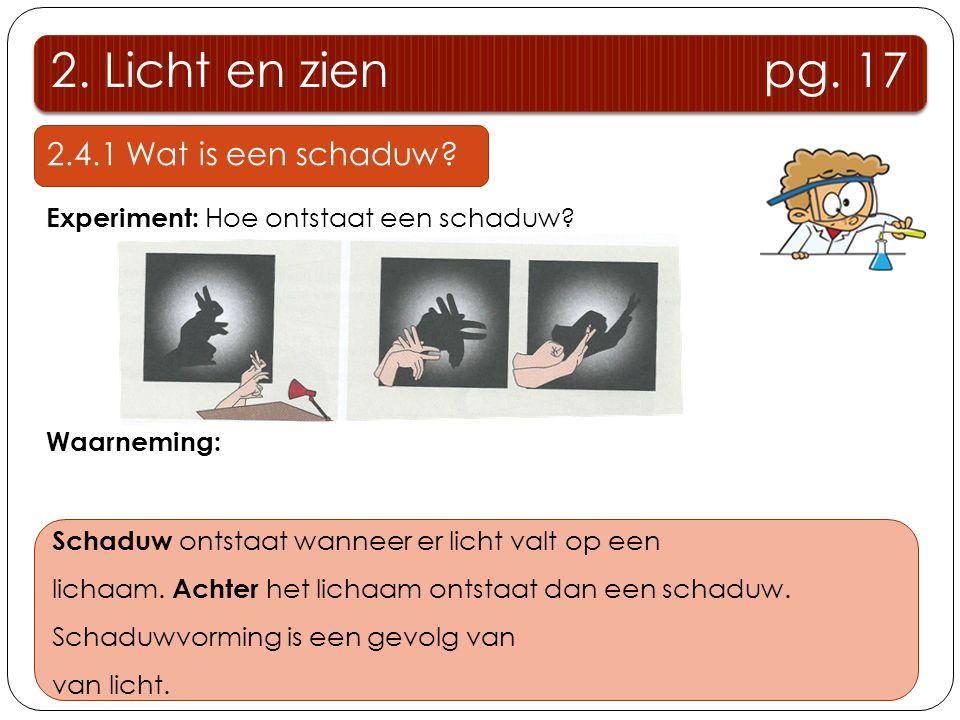 2. Licht en zien pg. 17 2.4.1 Wat is een schaduw? Experiment: Hoe ontstaat een schaduw? Waarneming: Op het scherm ontstaat een schaduwbeeld. Op de pla