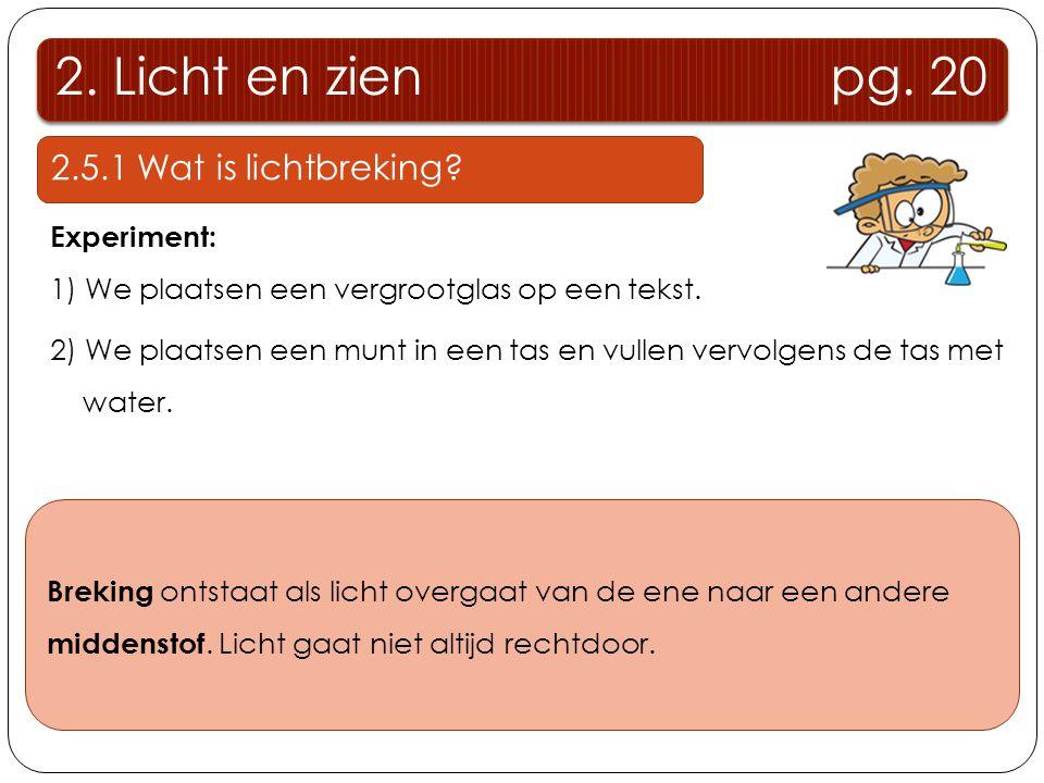 2. Licht en zien pg. 20 2.5.1 Wat is lichtbreking? Experiment: 1) We plaatsen een vergrootglas op een tekst. 2) We plaatsen een munt in een tas en vul