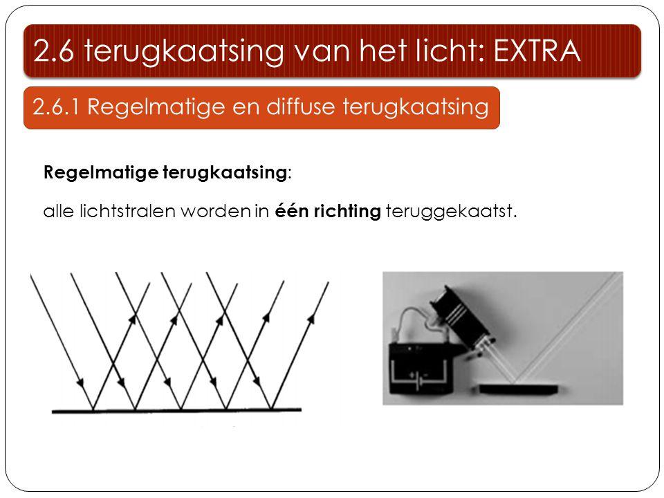 Regelmatige terugkaatsing : alle lichtstralen worden in één richting teruggekaatst. 2.6 terugkaatsing van het licht: EXTRA 2.6.1 Regelmatige en diffus