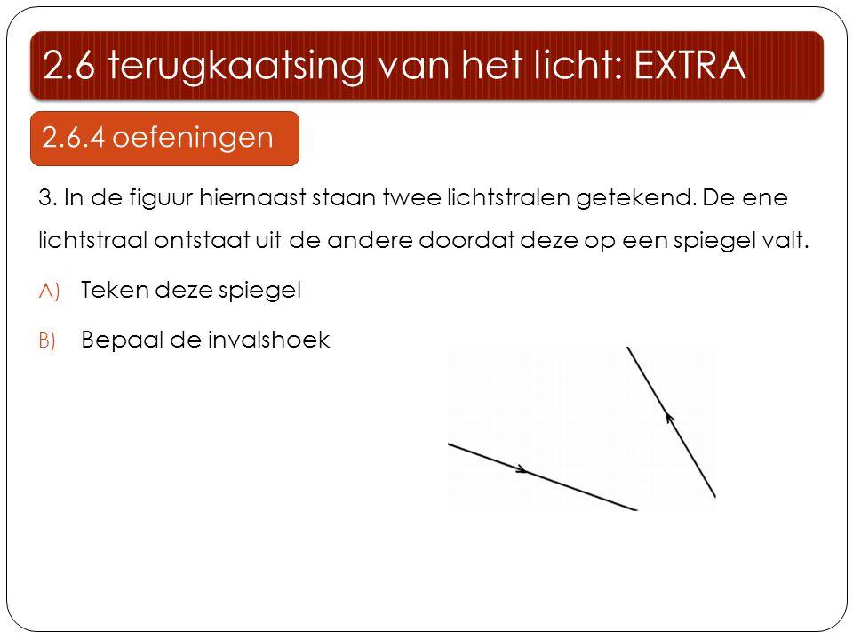2.6 terugkaatsing van het licht: EXTRA 2.6.4 oefeningen 3. In de figuur hiernaast staan twee lichtstralen getekend. De ene lichtstraal ontstaat uit de
