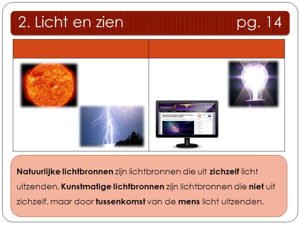 2. Licht en zien pg. 14 Natuurlijke lichtbronnenKunstmatige lichtbronnen Natuurlijke lichtbronnen zijn lichtbronnen die uit zichzelf licht uitzenden.