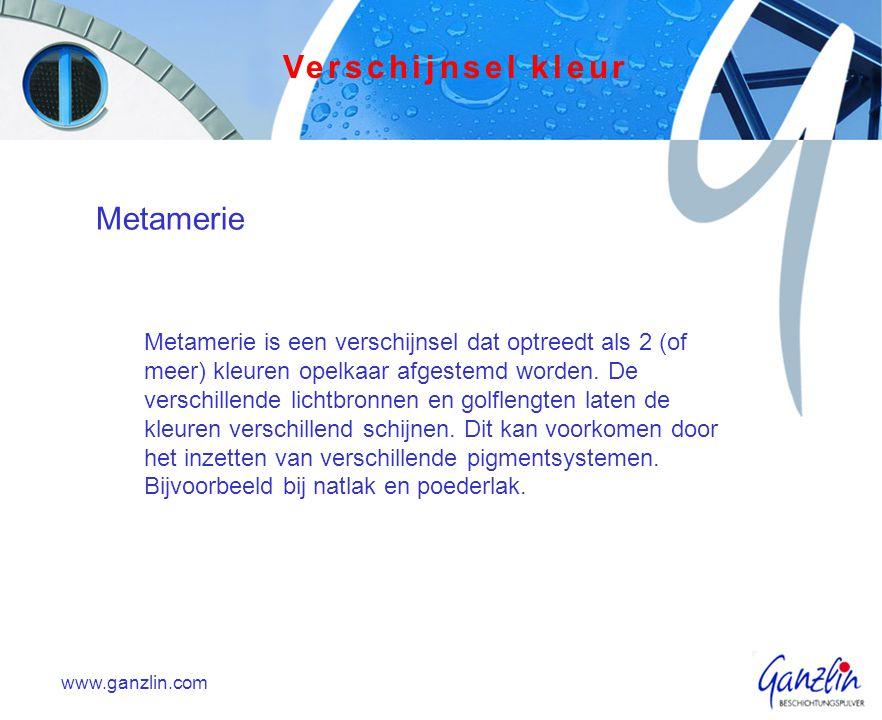 www.ganzlin.com Metamerie Metamerie is een verschijnsel dat optreedt als 2 (of meer) kleuren opelkaar afgestemd worden. De verschillende lichtbronnen