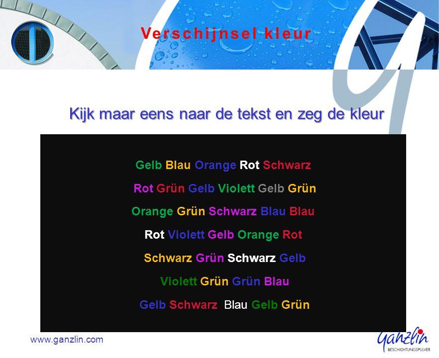 Kijk maar eens naar de tekst en zeg de kleur Gelb Blau Orange Rot Schwarz Rot Grün Gelb Violett Gelb Grün Orange Grün Schwarz Blau Blau Rot Violett Ge