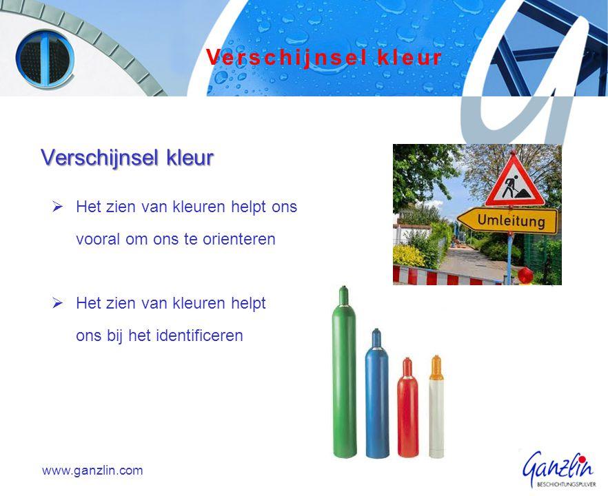  Het zien van kleuren helpt ons vooral om ons te orienteren  Het zien van kleuren helpt ons bij het identificeren www.ganzlin.com Verschijnsel kleur