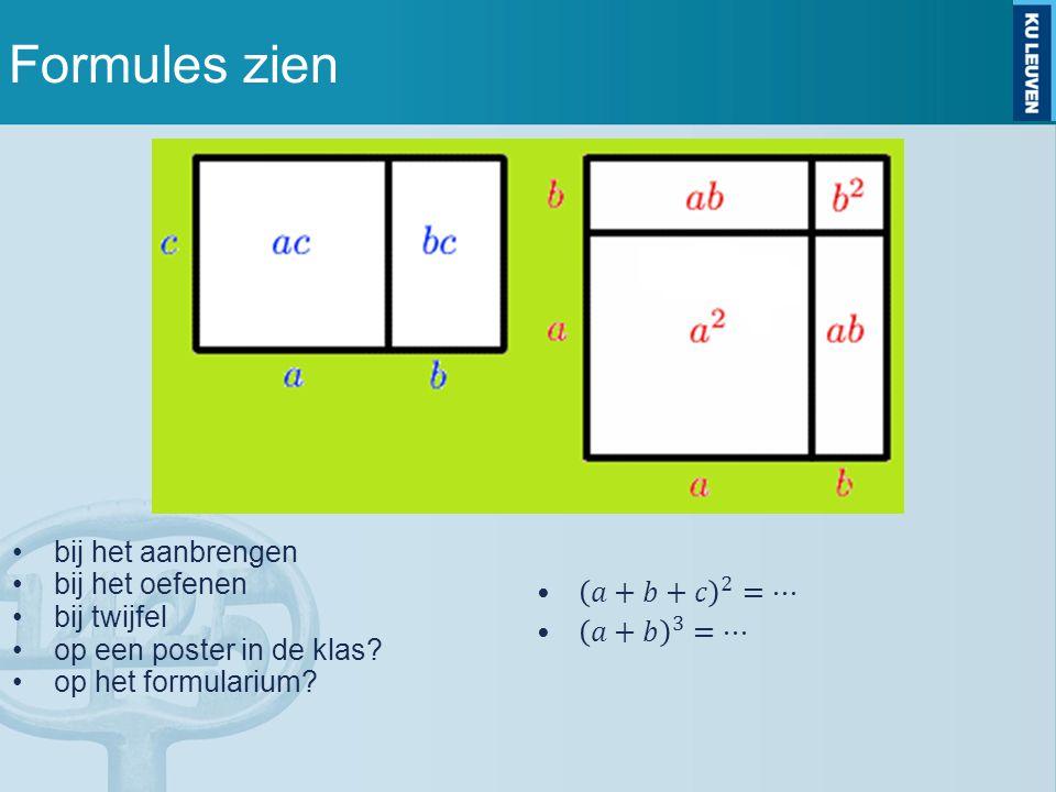 Formules zien bij het aanbrengen bij het oefenen bij twijfel op een poster in de klas? op het formularium?