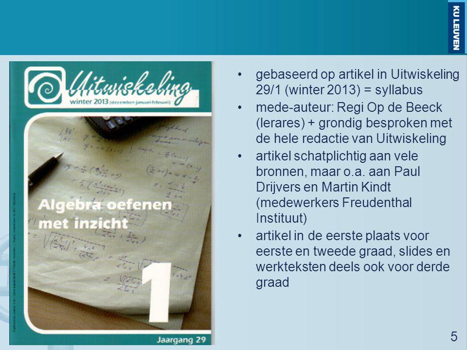 gebaseerd op artikel in Uitwiskeling 29/1 (winter 2013) = syllabus mede-auteur: Regi Op de Beeck (lerares) + grondig besproken met de hele redactie va