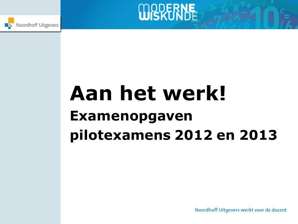 Aan het werk! Examenopgaven pilotexamens 2012 en 2013