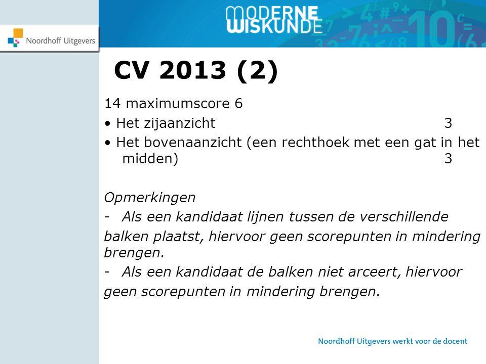 CV 2013 (2) 14 maximumscore 6 Het zijaanzicht 3 Het bovenaanzicht (een rechthoek met een gat in het midden) 3 Opmerkingen -Als een kandidaat lijnen tu