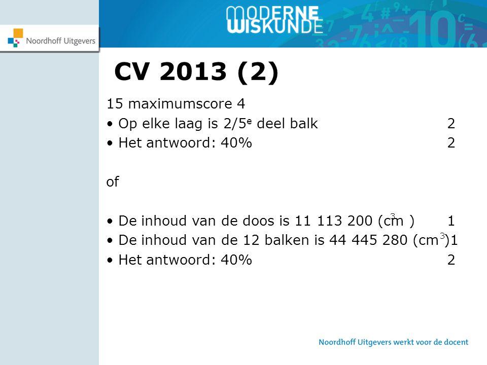 CV 2013 (2) 15 maximumscore 4 Op elke laag is 2/5 e deel balk 2 Het antwoord: 40% 2 of De inhoud van de doos is 11 113 200 (cm ) 1 De inhoud van de 12