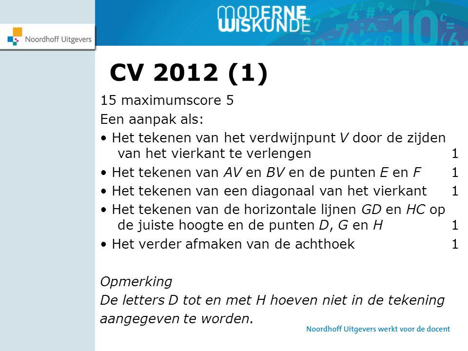 CV 2012 (1) 15 maximumscore 5 Een aanpak als: Het tekenen van het verdwijnpunt V door de zijden van het vierkant te verlengen 1 Het tekenen van AV en