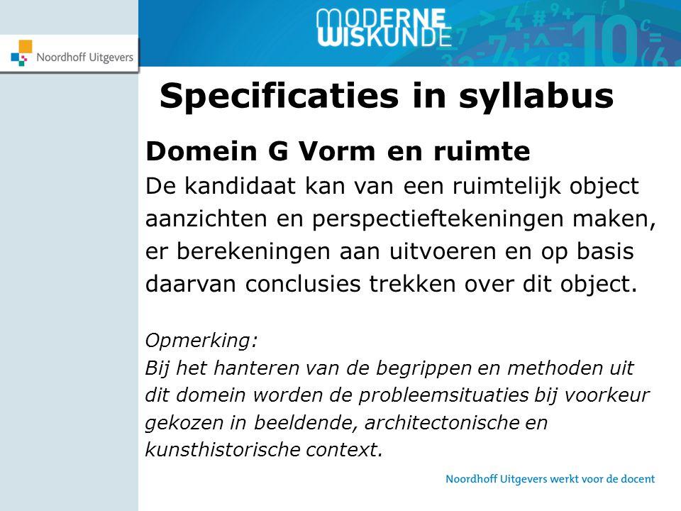 Specificaties in syllabus Domein G Vorm en ruimte De kandidaat kan van een ruimtelijk object aanzichten en perspectieftekeningen maken, er berekeninge