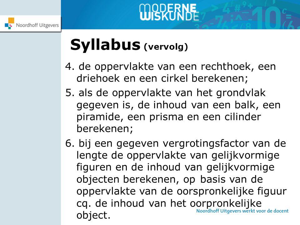 Syllabus (vervolg) 4. de oppervlakte van een rechthoek, een driehoek en een cirkel berekenen; 5. als de oppervlakte van het grondvlak gegeven is, de i
