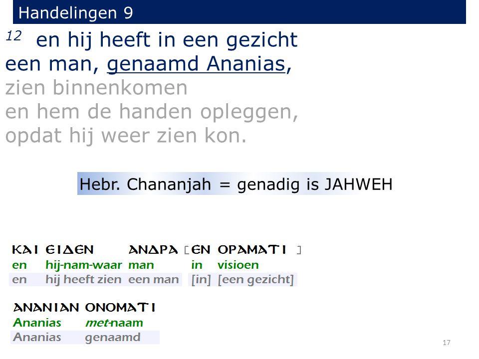 12 en hij heeft in een gezicht een man, genaamd Ananias, zien binnenkomen en hem de handen opleggen, opdat hij weer zien kon.